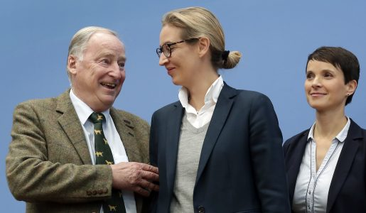 Frauke Petry, co-chairwoman of the AfD, right, stands with top candidates Alexander Gauland, left, and Alice Weidel, center, prior to a press conference of the Alternative for Germany, AfD, in Berlin, Germany, Monday, Sept. 25, 2017, the day after the nationalist party was elected first time into the German parliament. Petry declared later that she won't be part of the party's faction and left the press conference after the statement. (AP Photo/Michael Sohn)